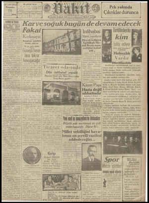 Vakit Gazetesi 10 Ocak 1929 kapağı