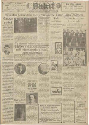 Vakit Gazetesi 18 Ocak 1929 kapağı