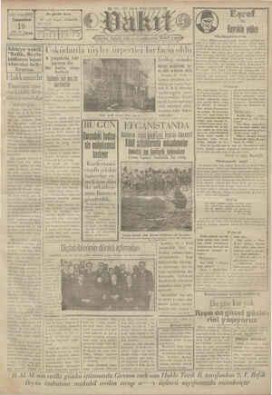 Vakit Gazetesi 19 Ocak 1929 kapağı