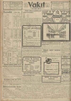 ABONE ŞARTLARI Türkiyede. Hariçtz Me re > | EE e Evan) Ka Borsalar 3 Şubat 1929 Nukuş | 1 Tegiliz dir | saa 7s 1 Dolar 202