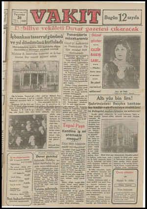 İ3inCi yıl » sayı 4291 Perşembe 26 2s ay | Kanuna | 1929 amam amk am İş bankasıtasarruf gününü ve yıldönümünükutluladı...