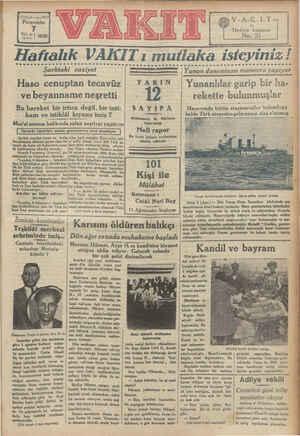 13 öecü yal « sayı 4518 Perşembe 8121 ay Ağustos 1930 G V-AK. LT | Hedive kuponu / No.21 o || Kr e pia di » Haftalık VAKITı