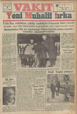 1380 yıl » sayı 4520 Cumartesi 9 ve. a') 1930 Ağustos V-A-K-I-T Hediye kuponu No. 23 i Muhalii fırka Fethi Bey sefirlikten