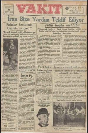 """İ3 PAS vel sayı 454 Pazartesi 1 """"a1 1930 İran Bize Yardım Teklif Ediyor .....2.050222220.. mektubu A O e e e e mba Fırkalar"""