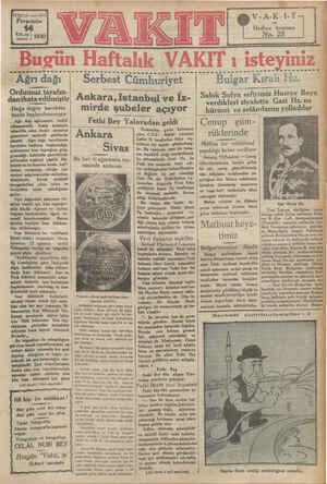 3 #068 yıl « sayı 452 Perşembe me 1930 Bucün Haftalık VAKIT ı isteyiniz ................. s.....ss ie... 0... s.s.s ass...
