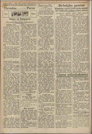 """VAKTT 1 Eyi 1930 — — ile Parise viden muharrir'mizin mek'unları """"3 avadan....... Parise Kuş Sofya ve Belgratta Tayvarede dağ"""