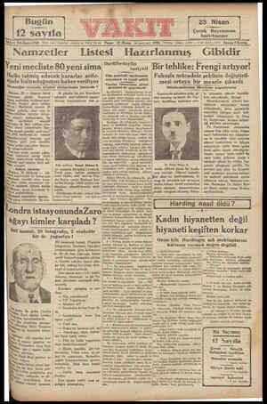 cü ü Yıl Sayı: 4769 9 İdare ) : İstanbul, Ankara ca, Vakıt Yurdu Pazar 19 Nisan (di üncü ay) 1931 Telefon: (idare) 2.4370 —