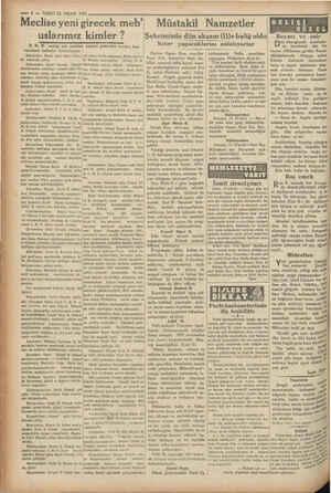 """—4— VAKIT22 NiSAN 1 931 Meclise yeni girecek meb"""" Müstakil Namzetler Şehrimizde dün akşam (11)e baliğ oldu Neler..."""