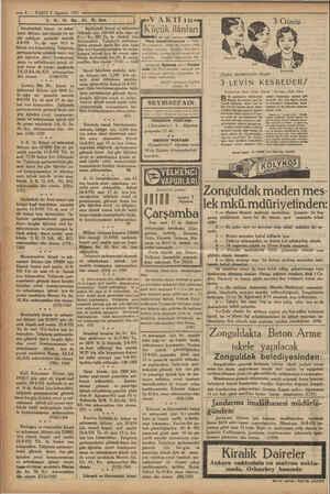 e— 8 — VAKIT 5 Ağustos 1931 Sa. i | o. Istanbuldaki kıtaat ve mües- sesat ihtiyacı için ekmek ve er- zak nakliyatı pazarlık