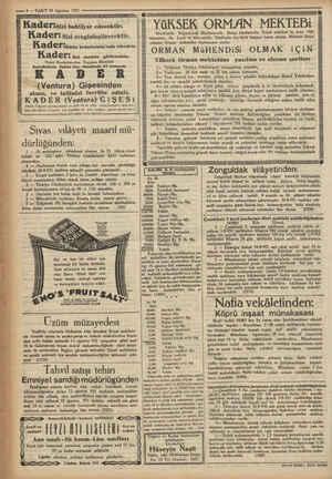 —— 8 — VAKTT 10 Ağustos 1931 ——.mm - — —— — > me YöKSEK ORMAN MEKTEBİ Istambulda e Boğaziçinde Büyükderede Bahçe...