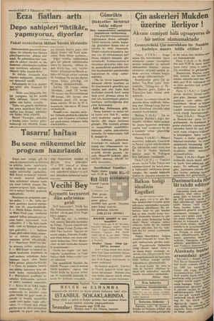 """si VAKIT 6 Kânunuevvel 1931 —— Ecza fiatları """"arttı Depo sahipleri """"ihtikâr,, yapmıyoruz, diyorlar Fakat eczacıların..."""