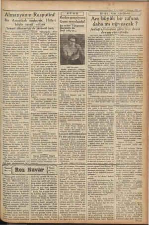 5 — VAKIT 9 Hazitan 1932 m İ ve tabiat ilirm Eee İTİ Bir Amerikalı muharrir, Hitleri böyle tavsif ediyor Yahudi düşmanlığı