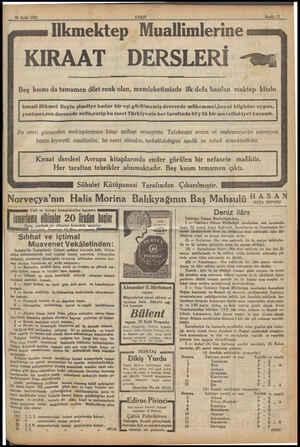 29 Eylül 1932 İlkmektep Muallimlerine Sayıfa 11 KIRAAT DERSLERİ - Beş kısmı da tamamen dört renk olan, memleketimizde ilk...