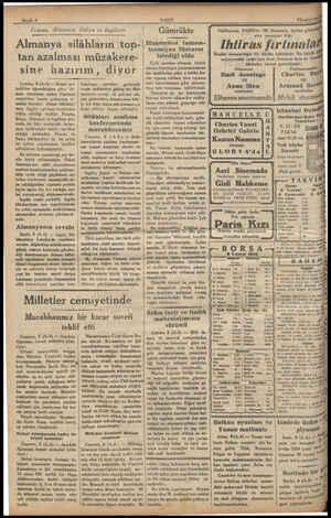 , Sayıfa 4 Iransa, Alınanya, Almanya silâhların top-  Talya ve Ingiltere tan azalması müzakere- sine hazırım, diyor Londra, 8