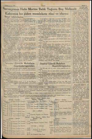 12 Künunyevvel 1932 | Norveçyanın Morina Balık Yağının Baş Mahsulü Kahvenin bir elden memlekete ithal ve idaresi Iktısat...