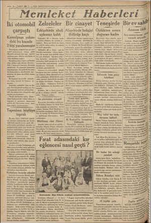 — 10 —VAKII 28 N:x13 1933 ss r agg yy Zanaat Fl ayy ya TE gg İki otomobil Zelzeleler çarpıştı Eskişehirde ahali uykusuz kaldı