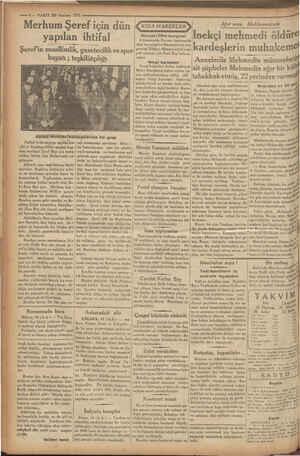 * mimi ve heyecanlı bir hitabe söy —i — VAKIT 20 Haziran 1933 , ro. ce   Merhum Şeref için dün yapılan ihtifal Şeref'in...
