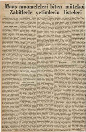 — 6.— VAKIT 6 Temmuz 1933 Maaş muameleleri biten mütekait Zabitlerle yetimlerin listeleri başı Hamit Fatih, Binbaşı...