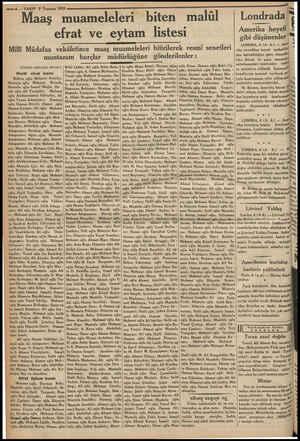 """—6 — VAKIT 7 Temmuz 1933 Maaş muameleleri """"biten malül efrat ve eytam listesi —..ş Mili Müdafaa vekâletince maaş muameleleri"""