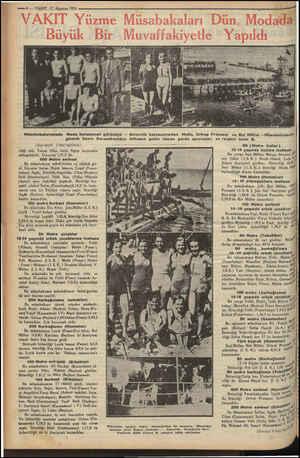 — 6 — VAKIT 12 Ağustos 1933 Müsabakalarımızda Moda havuzunun görünüşü — Birincilik kazananlardan Melle, Ortrup Preusser ve