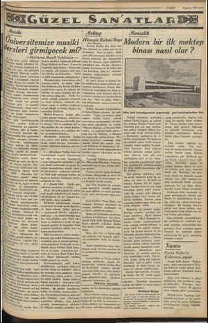 """7 — VAKIT """"Ağustos 1933 sema ÜZEL SANATLARI Üniversitemize musiki €rsleri girmiyecek mi? —Muhterem Maarif Vekilimize — hi"""