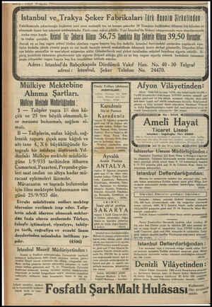 —12 — VAKIT 30 Ağustos 1933 ay 24 GE By A TÜN a yg Rg GE gg ya ag İstanbul ve, Trakya Şeker Fabrikaları Türk Anonim...