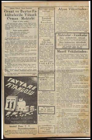 Ankara Yüksek Ziraat Enstitüsü Ziraat ve Baytar Fa- kültelerile Yüksek Orman Mektebi Kayıt ve kabul şartları 1933 ders senesi