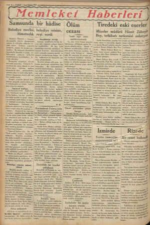 © — 6 — VAKIT 1 Laci künun 1938 9 Ml yedi ere gem ERİ : i € Kay Samsunda bir hâdise Belediye meclisi, belediye reisine,...