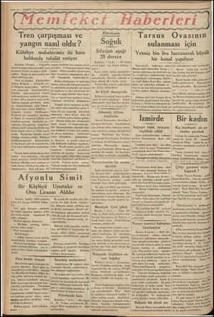 RİNE RR m AŞMA — 6 — VAKIT 8 Laci kânun 1933 yy yy yg ayyy yy yg emiceketf «Haberleri yay gyyyggyyyyy Tarsus Ovasının Tren