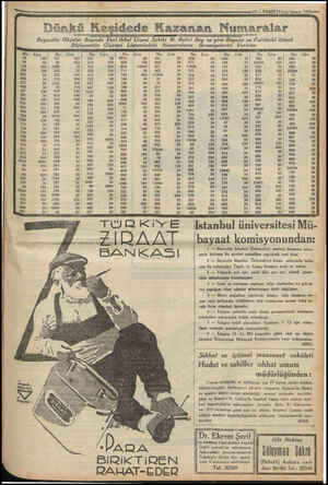 pe YE , Ve TI — VAKIT 13 1.nci kânun 1933-—— Dünkü Keşid e Kazanan Numaralar Beyazıtta Okçular Başında Yeni Ikbal Gişesi...