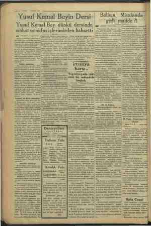 """10— VAKIT 3 NISAN 1934 """"Yusuf Kemal Beyin Dersi Yusuf Kemal Bey dünkü dersinde sıhhat ve nüfus işlerimizden bahsetti gag"""""""