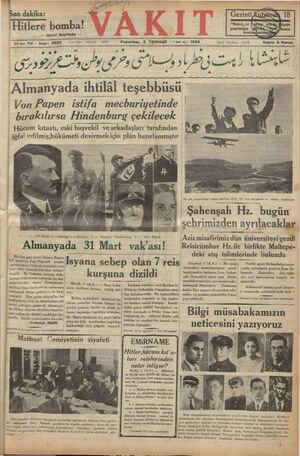 """Pe EN Son dakika: dakika: """"e Hitlere bomba! — ikinci Sayıfada — ee ll elm mm a çe ei Yıl yi 5920 Yazı İşleri Telefonu:"""