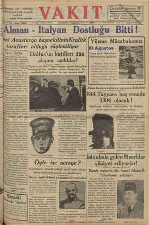 """şgi 4 gö 11 l Sakırköy bez ümüzdeki hâfta başında açılacak — Yazısı ikinci sayıfada — fabrikası * AKIT """"YAKITIN tertip Gittği"""