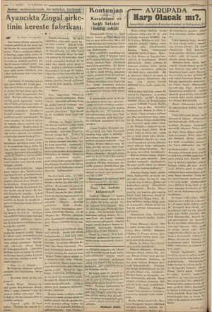. | — !— VARIT * 74 AĞUSTOS 1934 | Sanayi mıntakalarında bir tetkikin. biihalei CI Kontenjan Ta Ayancıkta Zingal şirke-...