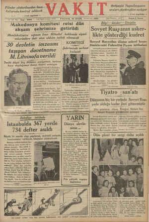 Filmler gösterilmeden önce-- Ankarada kontrol edilecek — Z nci sayıfada — -VAKIT: #trlyayld Yugoslavyanın araları...