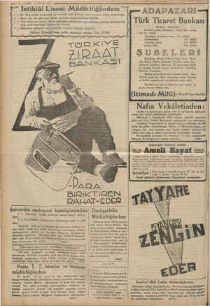 """öğ — 10 — VAKİT 16 EYLÜL 1934 #5) Y"""" istiklâl Lisesi Müdürlüğünden: """"7 ADAP AZ ARI — lik, Orta velLise kısımlarına kız ve"""