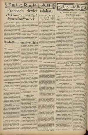 , hudutlarının emniyeti için bera - O —37—VARIT 26 1 inci teşrin 1934 RE vadi devlet ıslahatı Hükümetin otoritesi...