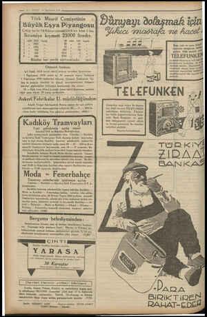 — 1? — VAKİT 23 Teşrinlevel 1934 Türk Maarif Cemiyetinin Büyük Eşya Piyangosu Çekiş tarihi 14/Kânunuevvel/1934 bir bilet 1