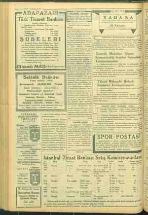 «a 22 — VAKİT 7 Teşrinisani 1934 ADA Türk Ticar kat Tel: 2: Galataşubesi Üsküdar şubesi İtimadı Mili ŞUBE andırma, Bartın,