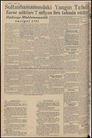 10 — VAKİT 8 MART 1939 di ultanhamamındaki Yangın Tafsili Zarar miktarı 7 milyon lira tahmin ediliyiç Hüâdiseye...