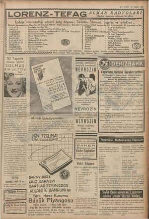 11 — VAKIT 10 NISAN 1939 ALMAN RADYOLARI Radyo âleminin sönmez iki yıldızı LORENZ-TEFA AE a Türkiye mümessilliği umumi...