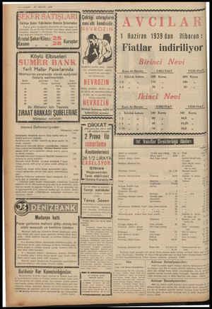 8S-VAKIT 27 MAYIS 1939 'î KER q *X quLARl Çektıgı ızlırapların Türkiye Şeker Fabrikaları Anonim Şirketinden: mes'ulü...