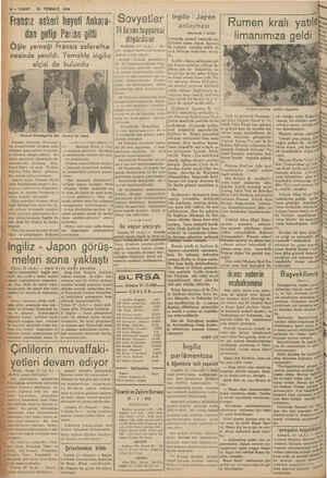 B— VAKIT 28 TEMMUZ | Fransız askeri heyeti Ankara- Sovyetler dan gelip nesinde yenildi. elçisi de Ve General Hutstnger'in