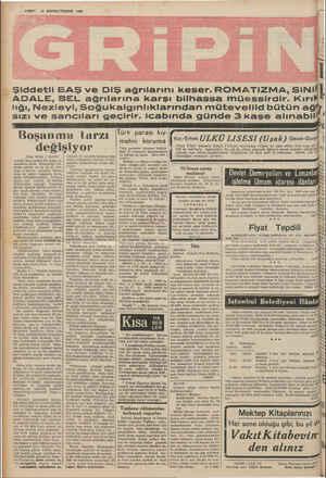 — VAKIT 18 BİRİNCİTEŞRİN 1939 Şiddetli BAŞ ve DiŞ ağrılarını keser.ROMA.TiZMA,SiNi ADALE, BEL ağrılarına karşı bilhassa...