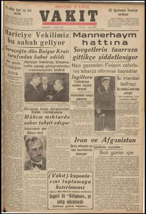 KK ari b Cİ VAKIT ÇARŞAMBA 7 KVLANkars Caf ye Vekilimiz ŞUBAT 1940 UDANA STANBUL *Telgrar l sabah geliyor # Saraç açoglu dün