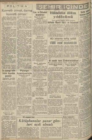 12 NİSAN 1940 2 VAKIT 'Kuvvetlı olmak daıma I Lise ve Ortaokul   Hâmidin ölüm kuvvetli Yine bir Nisan sabahr alacaka....