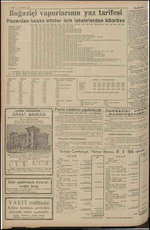 VAKIE 5 HAZİRAN 1941 > m Konferans w . 9 . demet oğaziçi vapurlarının yaz tarifesi  : aga) Bİ pet Üniversite Mdebiyst Fake