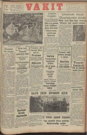 PERŞEMBE 12 HAZİRAN 1941 YIL: 2A * SAYI: 8410 ldars evi: Ankara C. Vakıt Yurdu Telefon: Telg. İstanbul Vakıt İdare: 24370