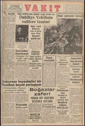 | ı | Va Payıs 5 Hazirandan itibaren toplanacak ku 3 : idare evi: Ankara C. Vakıt Yurdu Teletoo: İdare (24370), Yazı (ZM18)