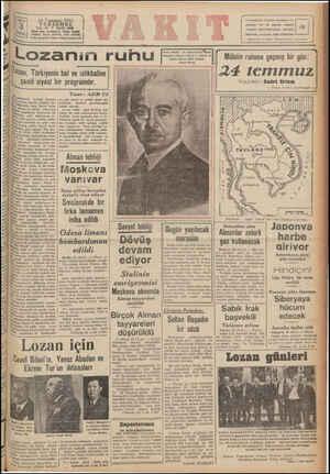 2A Temmuz 1941 PERŞEMBE YIL: Z& * SAYI: 8458 Delefoa: İdare (24270), Yazı (21418) İdare evi: Ankara C. Vakıt Yazde [ Tolg.